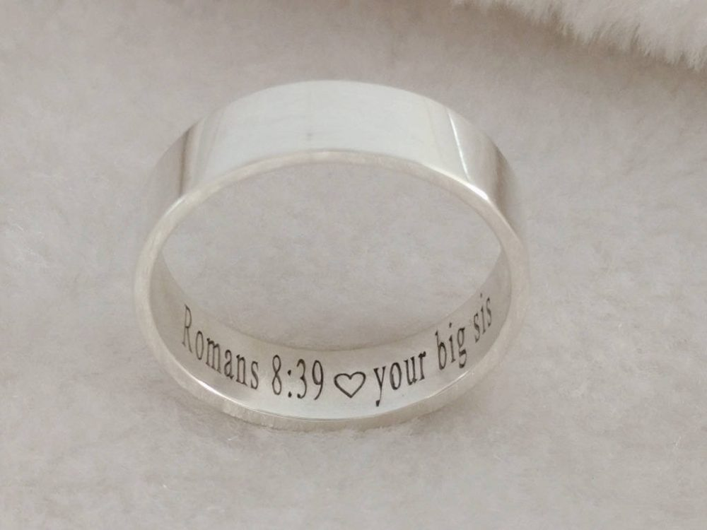 Hidden Message Ring, Silver Band Ring, Personalized Secret Ring, Bilbe Verse Ring, Christian Ring, Christmas Gift