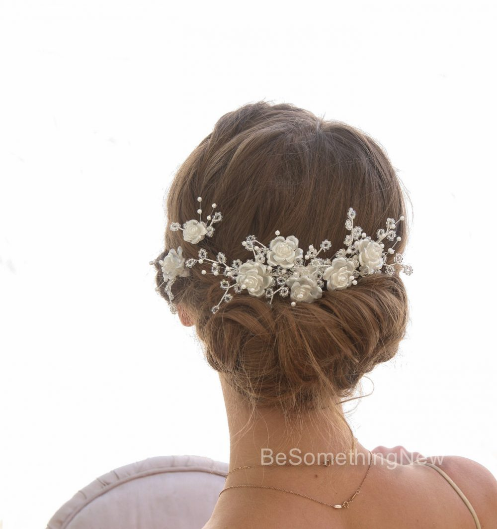 Vintage Flower & Bead Bridal Headpiece Comb Floral Wedding Hair Bobby Pins Beaded With Pearls Crystals