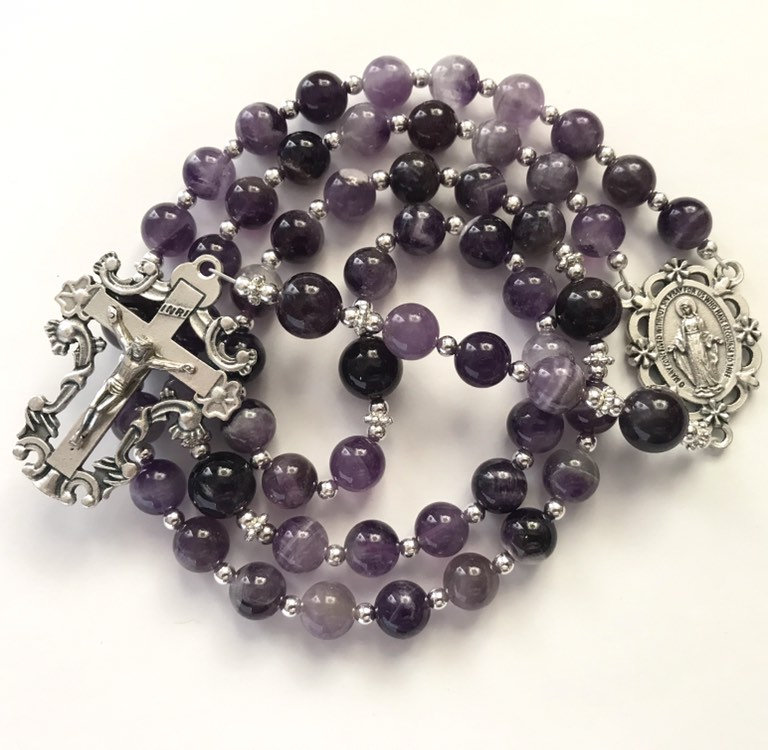 Catholic Rosary, Banded Amethyst, Miraculous Medal Of Mary, Silver Crucifix, Prayer Beads, Religious Gift, Purple Rosary