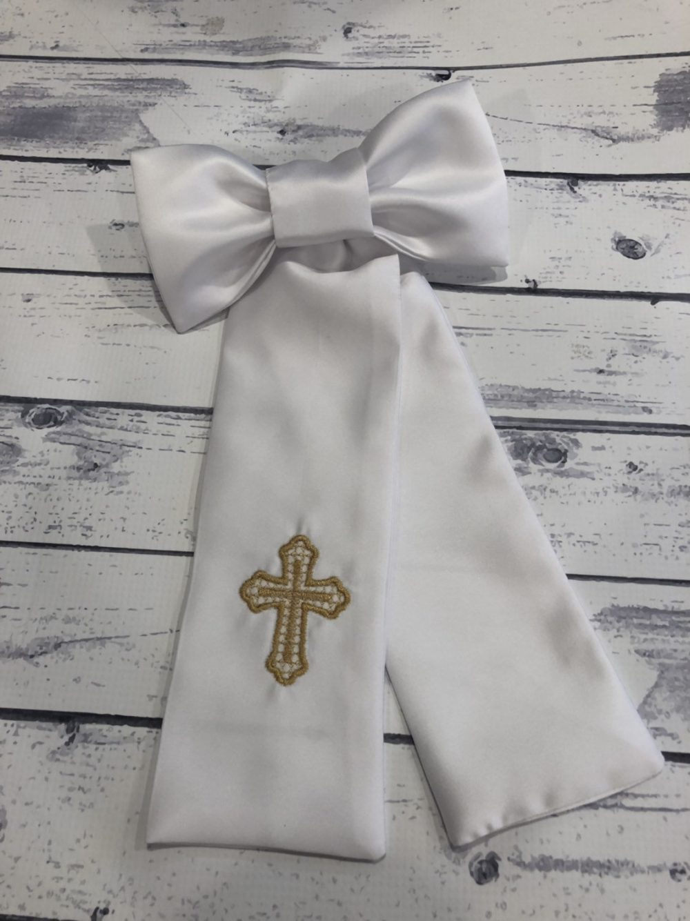 Baptism Arm Band- Embroidered Infant Communion Band - Religious