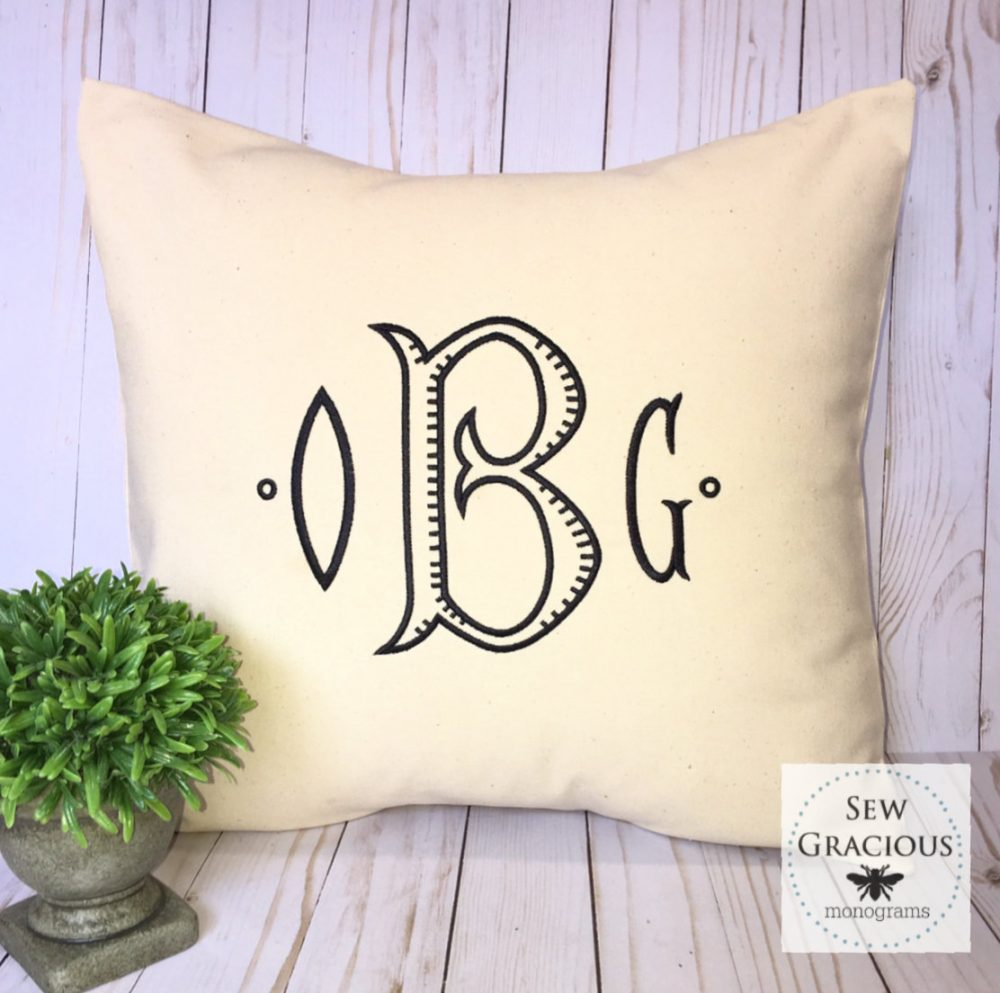 Monogrammed Pillow Cover, Personalized Wedding Gift, Custom Home Decor, Fits An 18 X Throw Pillow Insert