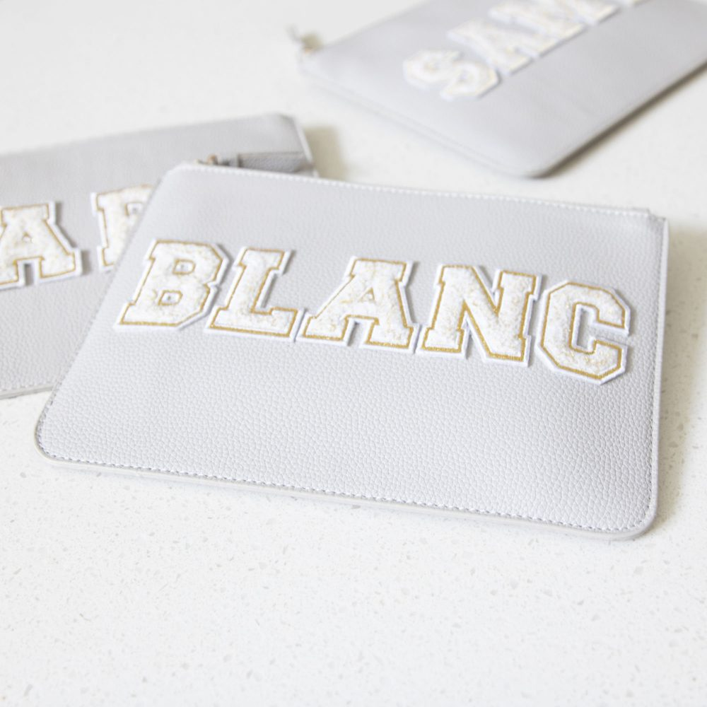 Chenille Varsity Patch Vegan Leather Clutch Bag - Cosmetic Makeup Custom Monogram Bridal Party Proposal Gift Maid Of Honor B-Cb05