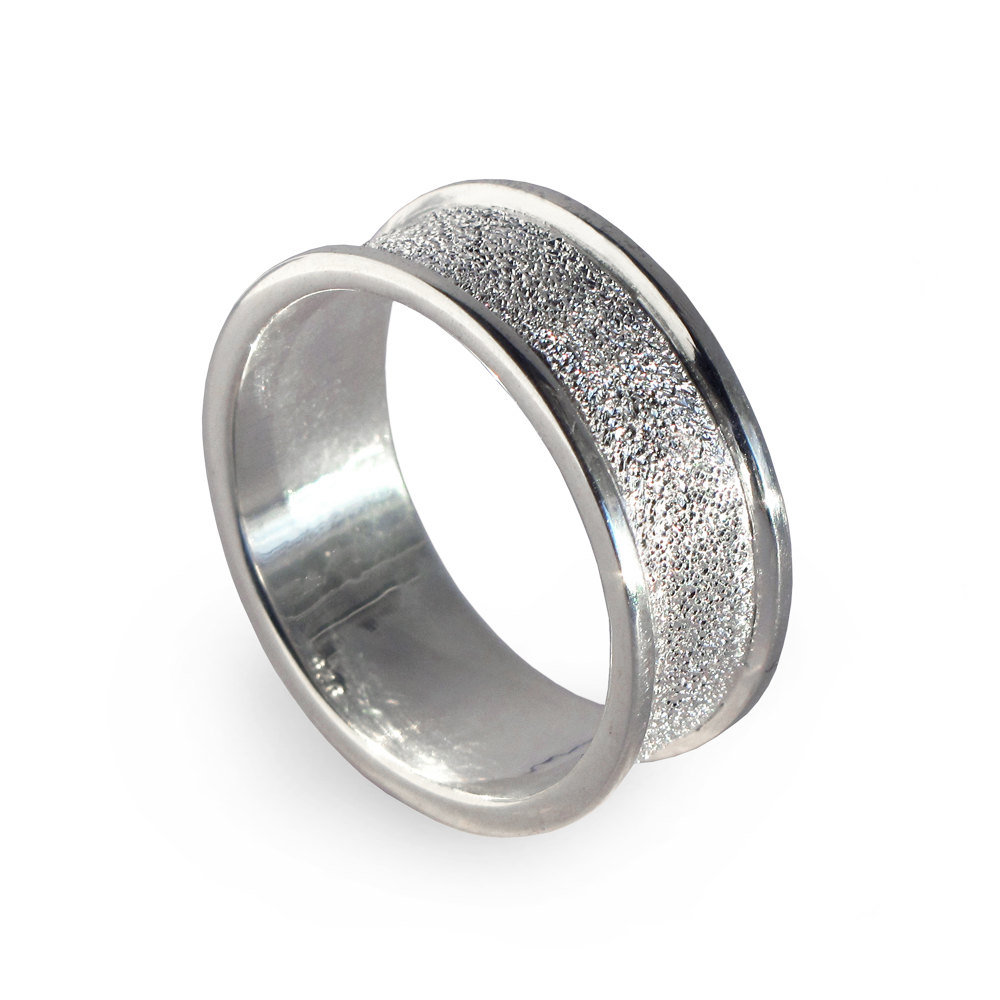 Silver Men's Wedding Band, Band Ring, Mens Alternative For Men, Diamond Textured Ring