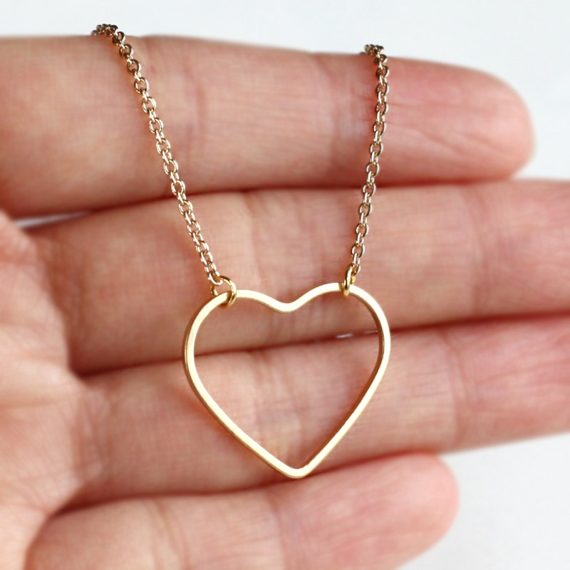Initial Heart Necklace , Personalized Gold Heart Necklace, Mini 14K Gold Plated Heart, Bridesmaid Gift Idea Jewelry, Wedding Gift