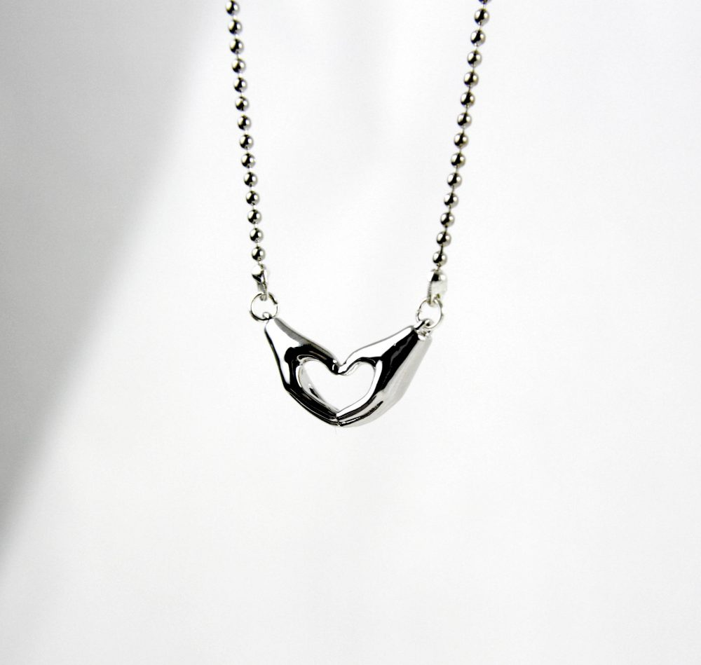 Love-Silver Plated Necklace, Silver Love Gift For The Friend, Valentine Day, Wedding Heart Necklace