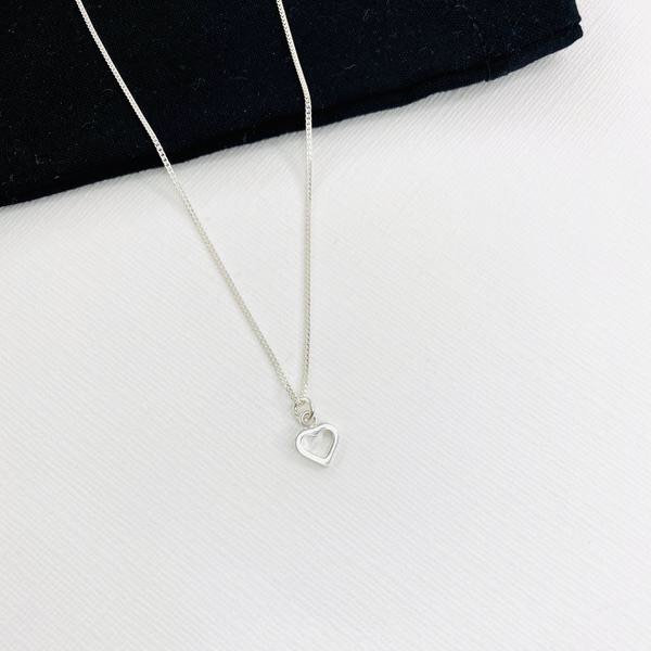 Silver Open Heart Necklace, Sterling Love Choker Gift For Her, Uk