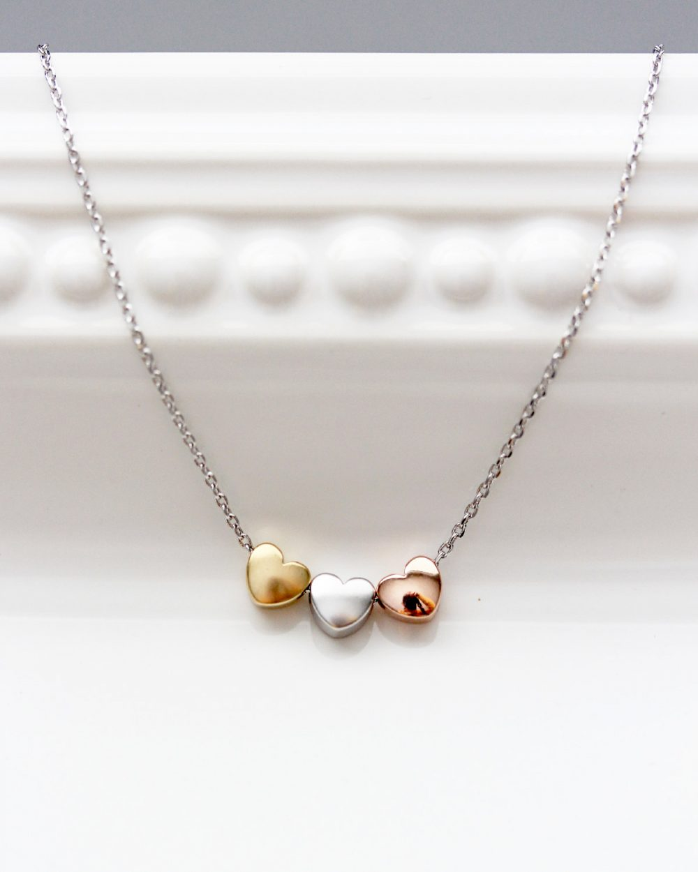 Three Hearts Necklace, Tri Tone Charm Silver Gold Rose Necklace Bridal Bridesmaid Gift Wedding Heart Jewelry Love Dainty Chr