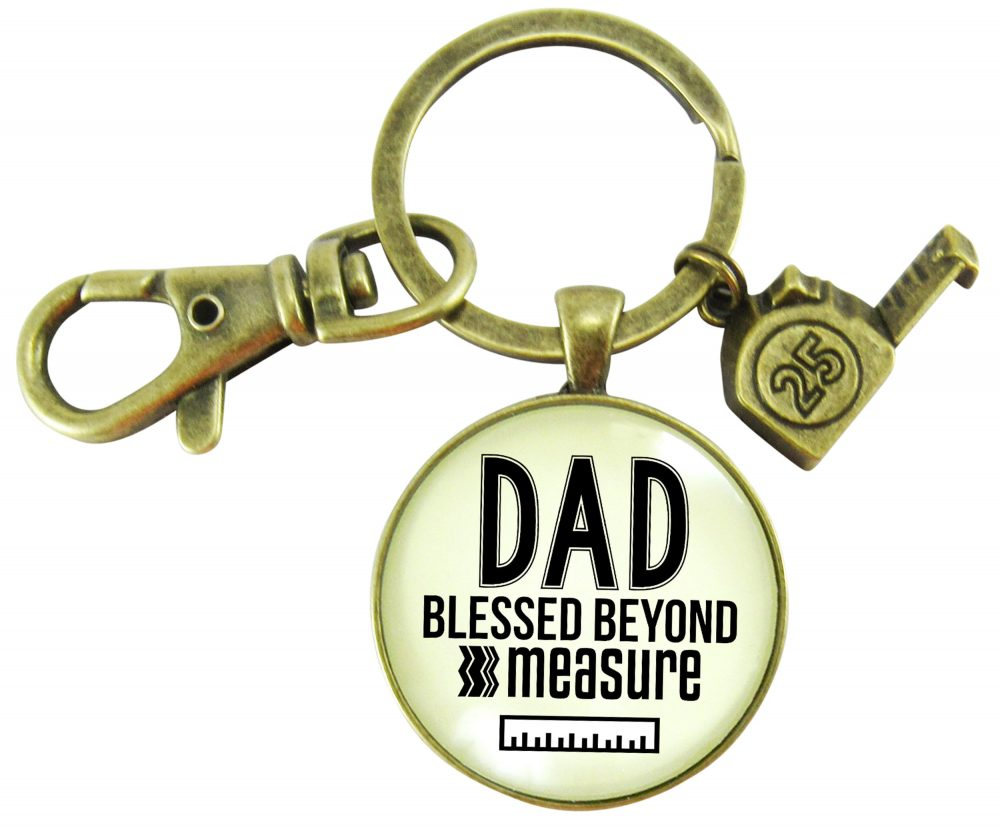 Dad Keychain Father Key Chain Birthday Gift Blessed Beyond Measure Charm New Kecyhain, First Father's Day Gifts