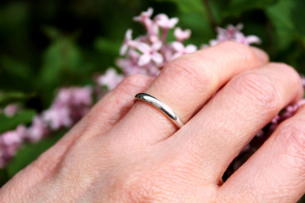 D Shape Smooth Wedding Band Ring, Sterling Silver Band, Zero Waste Packaging, Polished Classic Gifts For Him & Her