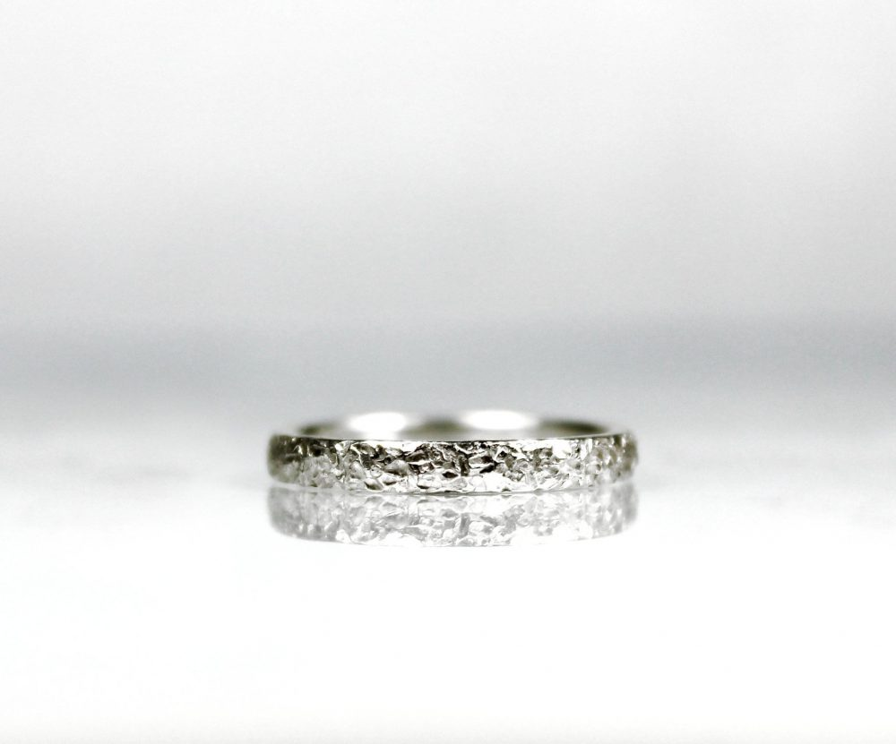 D Shape Rustic Wedding Band Ring, Sterling Silver Band, Zero Waste Packaging, Textured Hammered Gifts For Him & Her