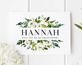 Personalised Bridesmaid Card, Will You Be My Bridesmaid Card, Classic Bridesmaid Proposal, Bridesmaid Proposal Card, Floral Bridesmaid Card