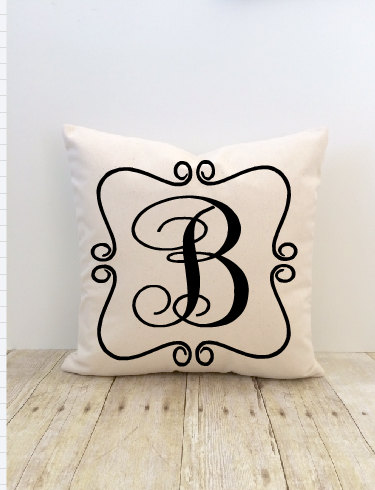 Monogram Pillow Cover, Personalized Custom Initial, House Warming Pillow, Bride, Wedding, Family, Couples, New Home