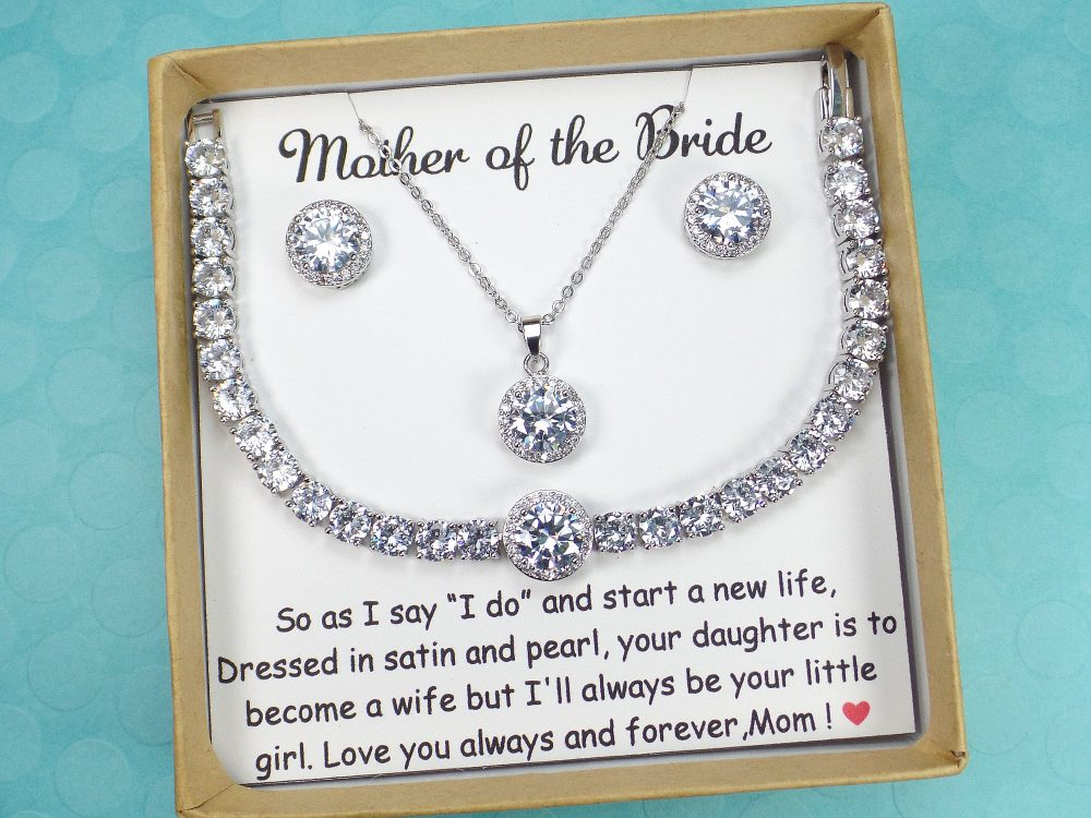 Mother Of The Bride Gift Groom in Law Wedding Mother Bride Bracelet Earrings