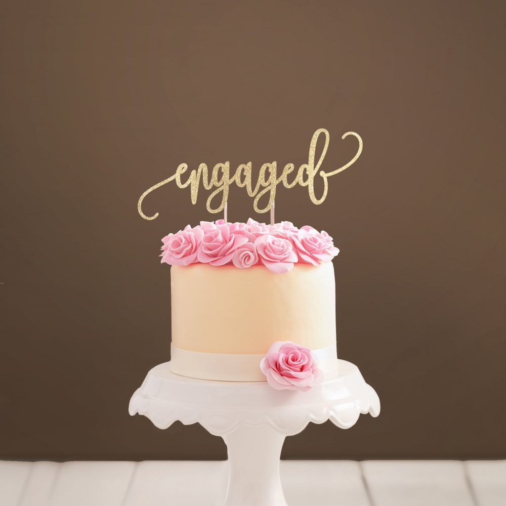 Engaged Cake Topper We're Engagement Party Decor Bridal Shower Gold Cursive Bride To Be
