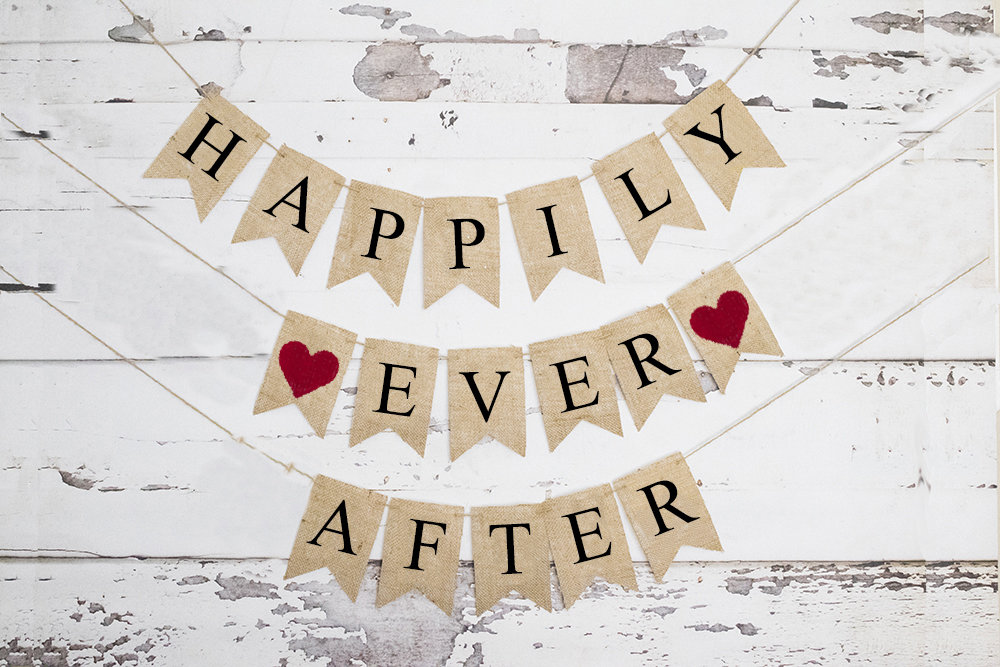 Happily Ever After Banner, Wedding Or Engagement Party Decor, Fairytale Wedding, B720