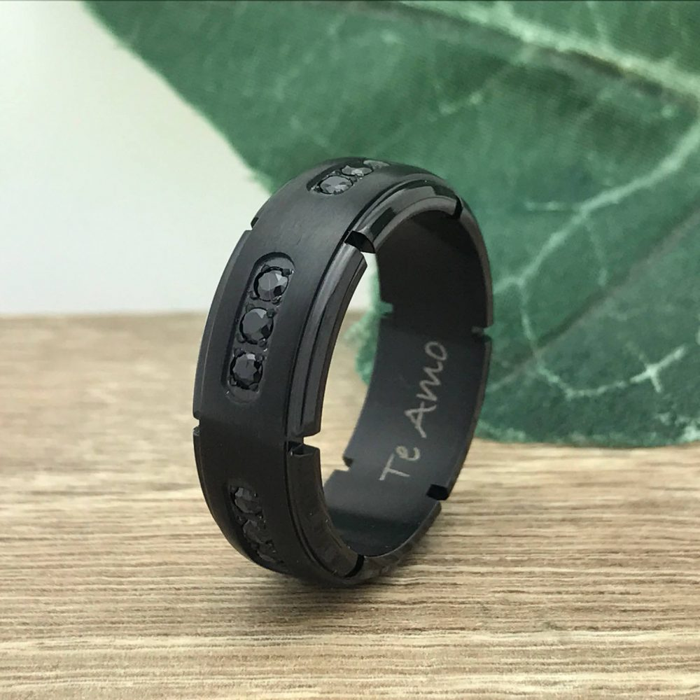 8mm Titanium Wedding Ring, Personalized Custom Engrave Black Cz Band Purity Promise Ring