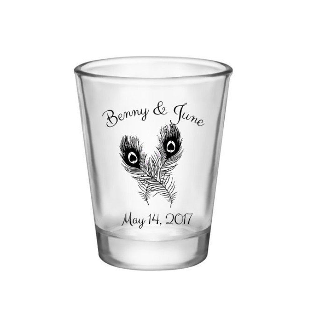 Wedding Shot Glass - Favor Custom Glasses Personalize Customize Favors Bride & Groom Peacock
