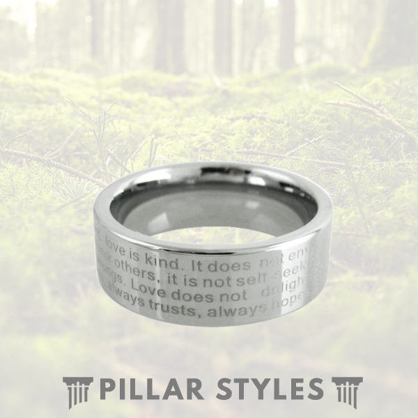 Tungsten Christian Rings Bible Verse Ring - 8mm/6mm Mens Wedding Band Unique Anniversary