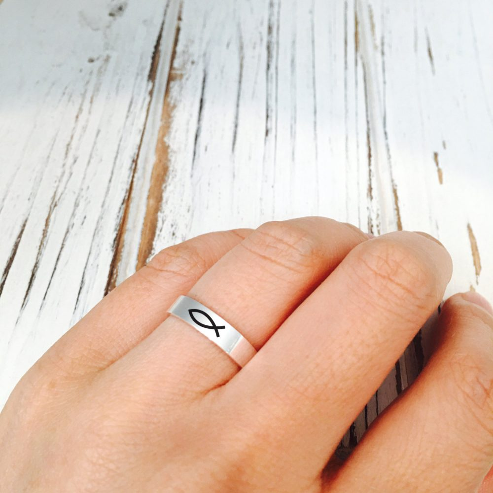 Christian, Fish Symbol Sterling Silver Ring/Jesus Ring/ Band Ring/Add Text Inside Must Selected Out&inside