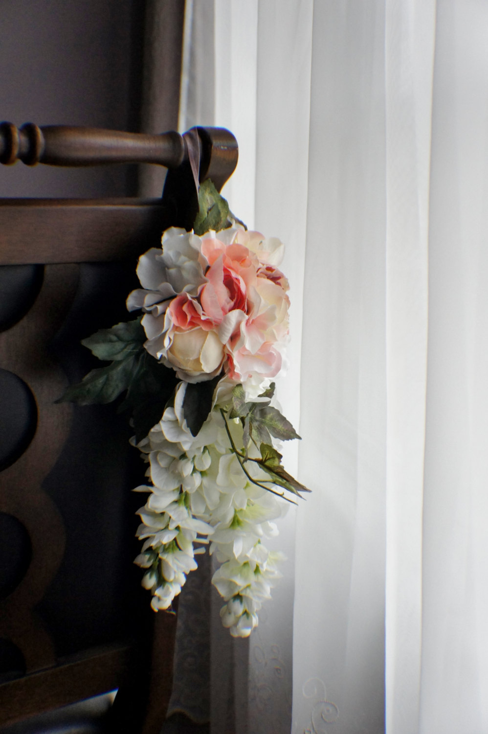 Pew Flowers, Wedding Aisle Hanger, Flowers, Arrangement, Silk Decor Flowers