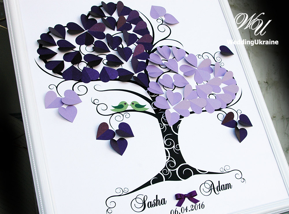 Purple Wedding Guest Book Ideas - Tree With Green Love Birds 3D Tree Modern Alternative To Traditional Guestbooks