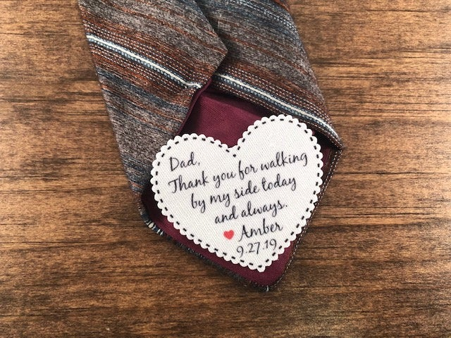 """Sew Or Iron On Patch On Sale - Groom Dad Tie Patch, Father Of Bride, 2.25"""" Heart Shaped Dot Border, Choose Message & Font"""