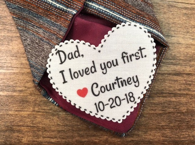 """Father Of The Bride - Father The Groom Little Red Heart 2.25"""" Wide Shaped Tie Patch, Choose Message, Font, Sew On Or Iron On"""