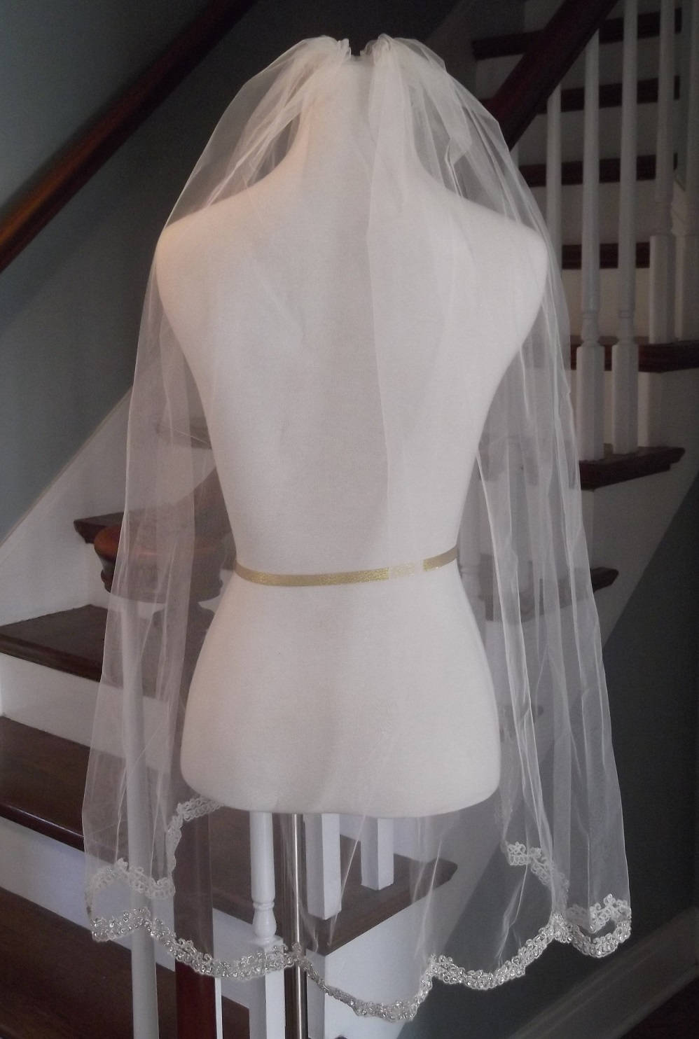 Beaded Silver Scallop Embroidery Fingertip Wedding Veil - Blush Veil, Moscato Free Tulle Samples