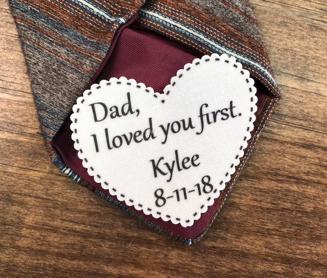 """2.25"""" Heart Shaped Dad Tie Patch, Dot Border, Choose Message, Font, Sew On, Iron Father Of The Bride, Groom Or"""