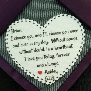 """Groom Tie Patch - Groom Gift I Choose You, Without Pause, Doubt, in A Heartbeat, Iron On, Sew 2.25"""" Heart Shaped Patch"""