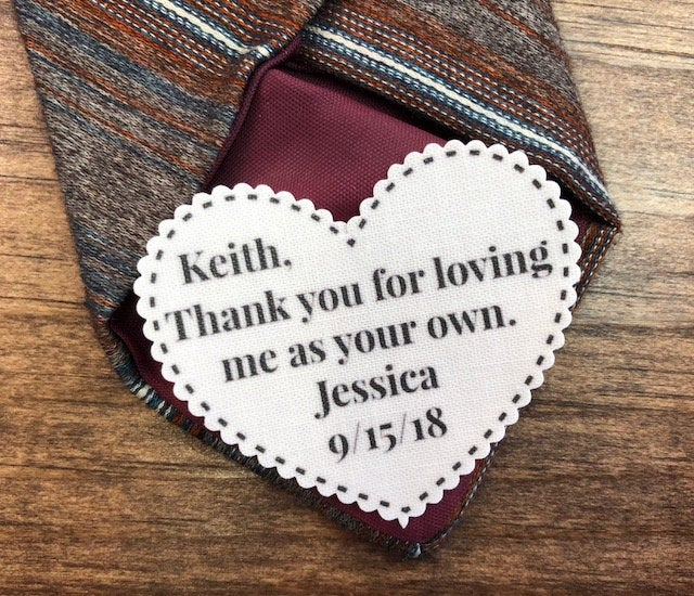 """stepfather Tie Patch - Father Of The Bride, Gift For Him, Dot Border, Choose Message, Font 2.25"""" Heart Shaped, Sew On Patch, Iron Patch"""