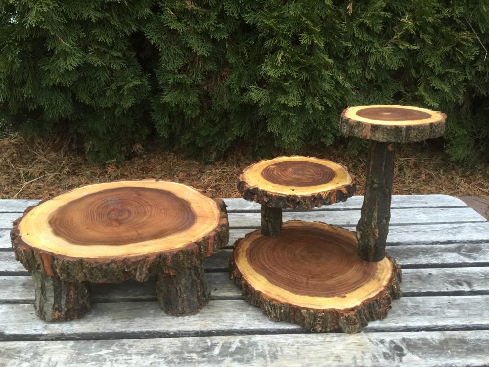 Elm Wood Rustic Cake 50 Cupcake Stand Wedding Party Shower Wooden, Lumberjack Party, Boho Live Edge Round, Wild Things Are