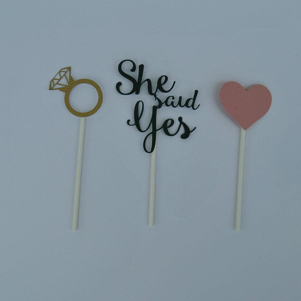 She Said Yes Cupcake Toppers, Engagement Party Decor, Bridal Party, Custom Parties By Partyatyourdoor On Etsy
