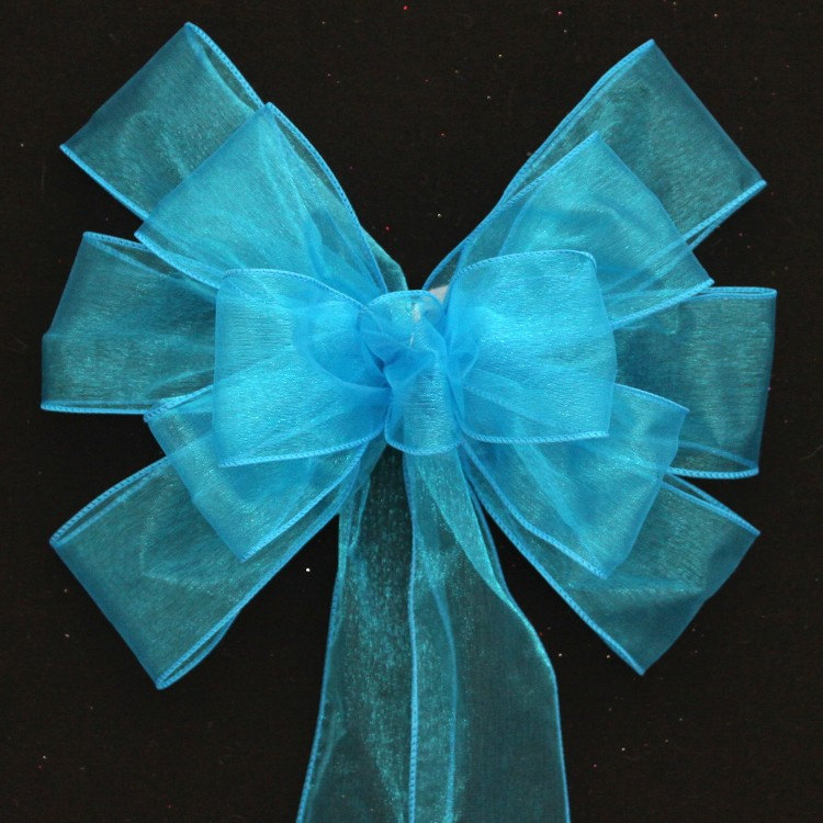 Turquoise Sheer Wedding Pew Bows - Church Decorations, Aisle Ceremony Bow, Chair