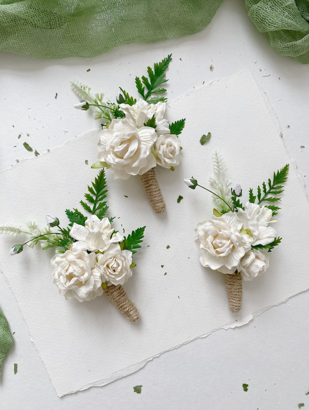 White Boutonniere, Flower Floral Wedding Rustic Buttonhole Bouquet, Woodland