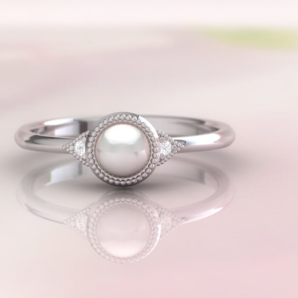 Pearl Ring. & Diamond Engagement Diamond Ring With Fine Millgrain Detail. 14K, 18K Or Platinum