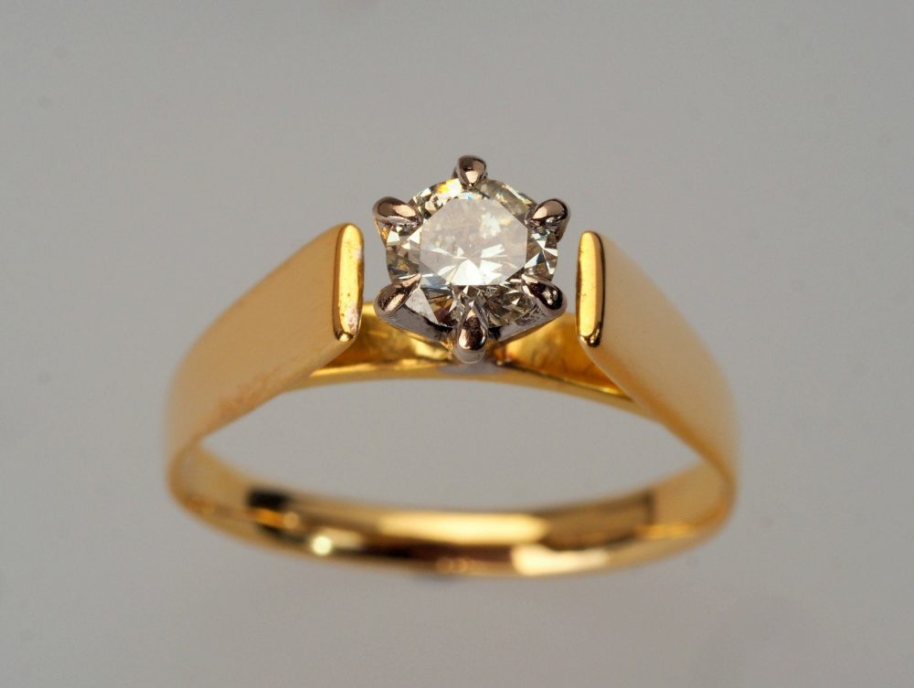 Diamond Solitaire Ring, 0.33Cts, Vintage Gold Ring Engagement Birthstone Ring, Jewelry, Wedding Simple Engagement