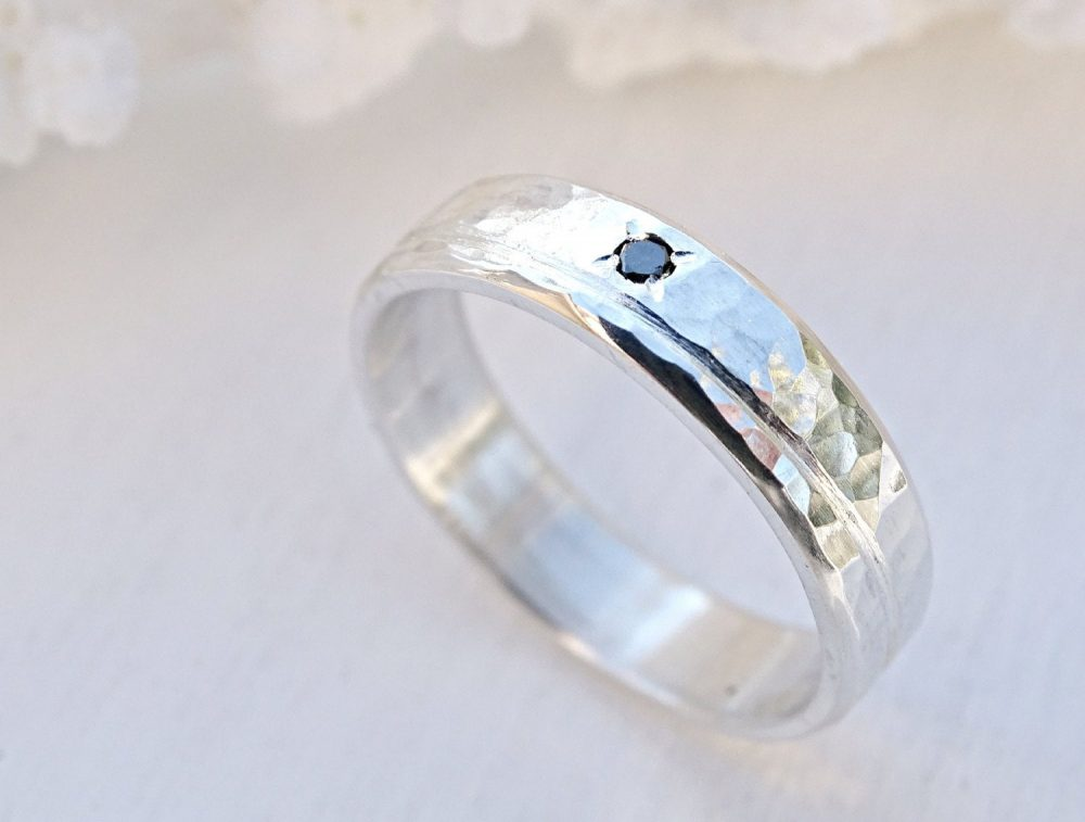 Diamond Wedding Band Silver Ring, Engagement Wave Ring Diamond, Mens Personalized Hammered