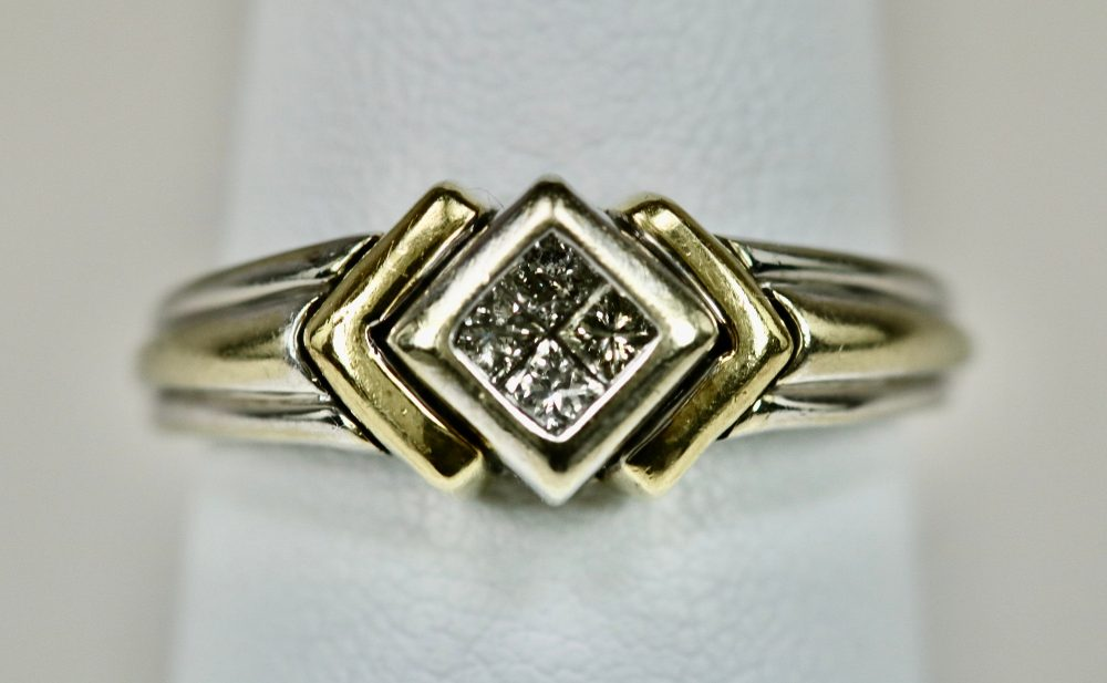 Vintage Hallmarked Ladies Diamond Ring 10K White Gold With Yellow Accents 4 Center Engagement Stack Layer Size 6.75-7 Retro