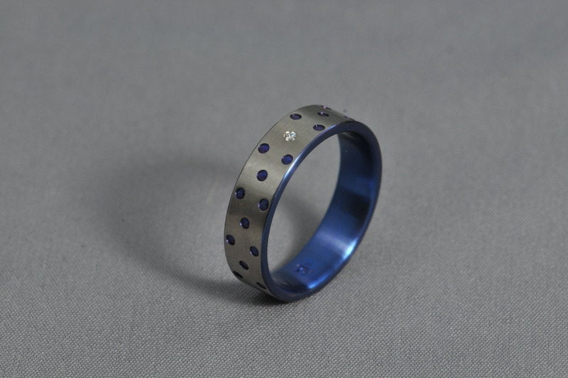 Titanium Wedding Ring, Engagement Diamond Ring, Anodized Spotted Antiallergic