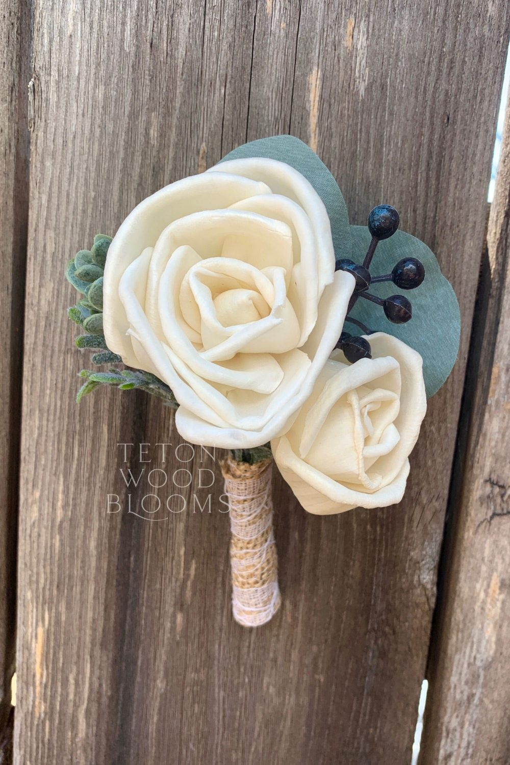 Wood Flower Boutonniere/Rustic Bridal Bridesmaid Bouquet Wooden Sola Flowers White Ivory Navy
