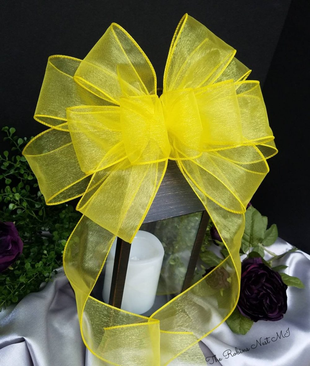 Yellow Bows, Wedding Sunflower Yellow, Wreath Fall Home Decor, Church Aisle Pew Basket, Lantern, Gift, Baby Shower Bows Gift Bow
