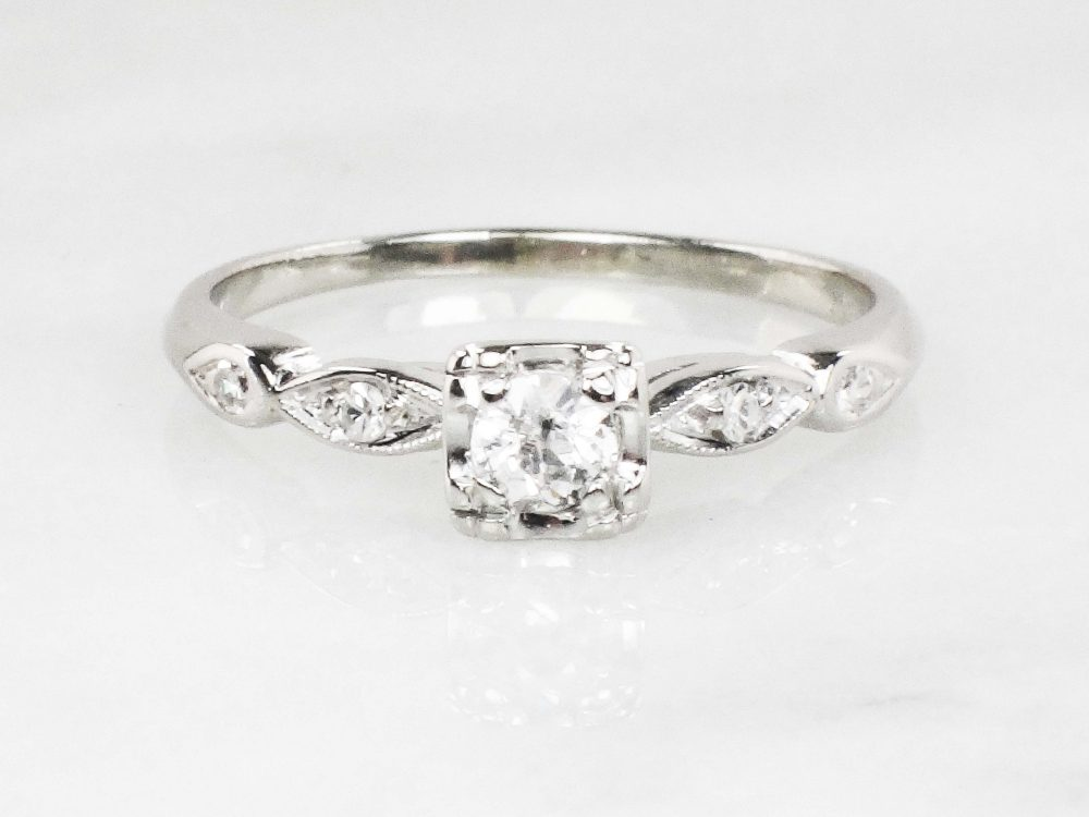 Vintage Diamond Ring 14K Gold Engagement Old Mine Cut White Size 7 3/4