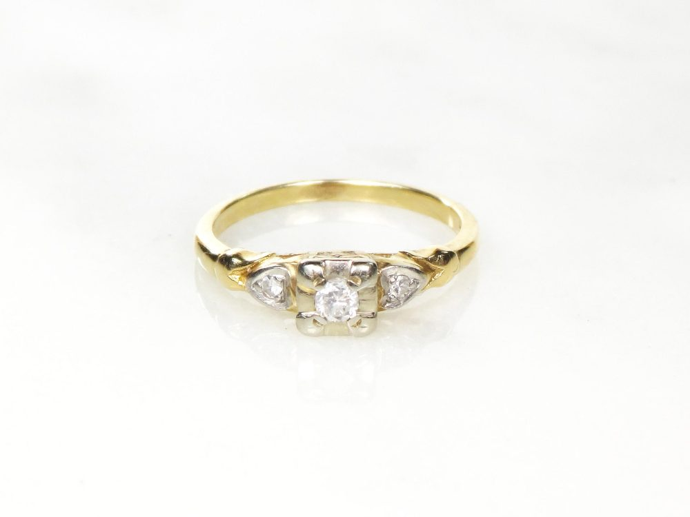 Vintage Diamond Ring Engagement 14K Gold Pre-Engagement Promise