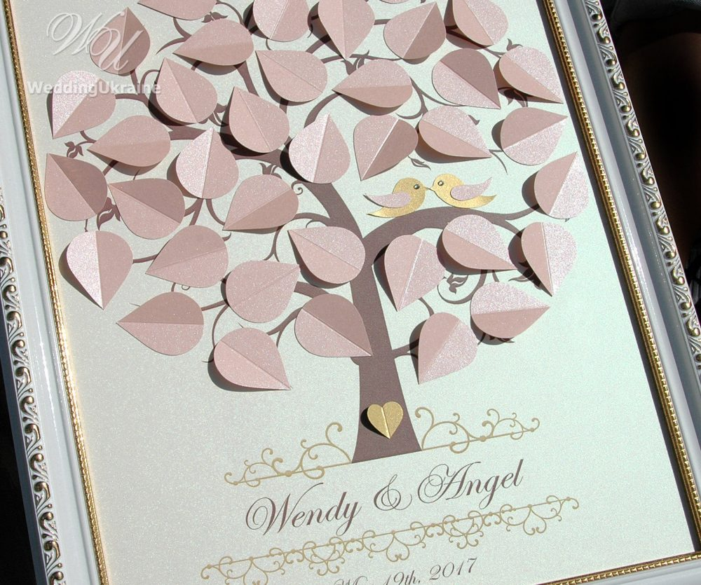 Blush & Ivory Wedding Guest Book Idea - 3D Tree With Love Birds Modern & Elegant Alternative To Traditional Guestbooks