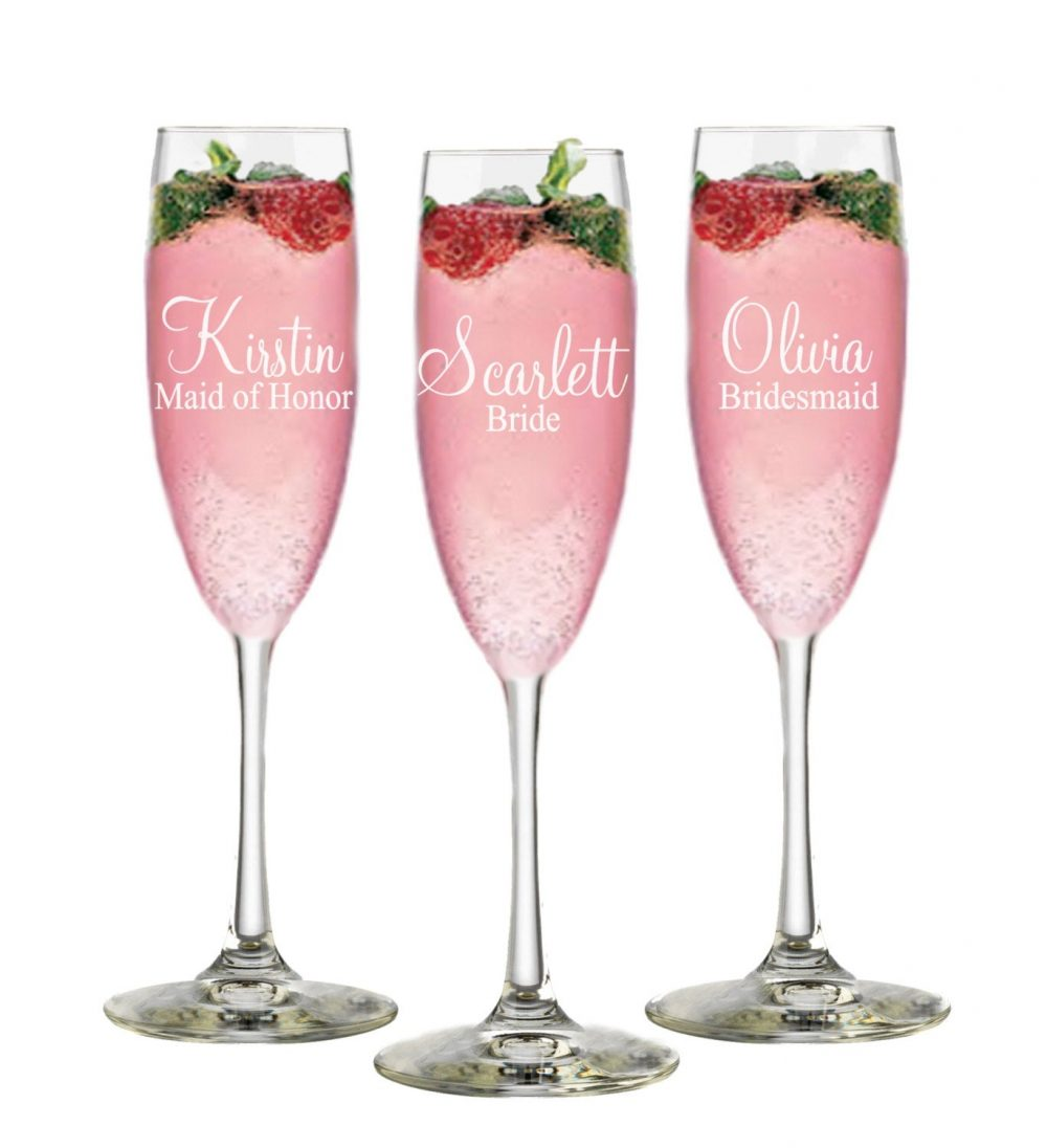 Bridal Shower Guest Gift, Personalized Champagne Flutes 9 Wedding Bridesmaid Gifts, Party Gift Glass, Favor