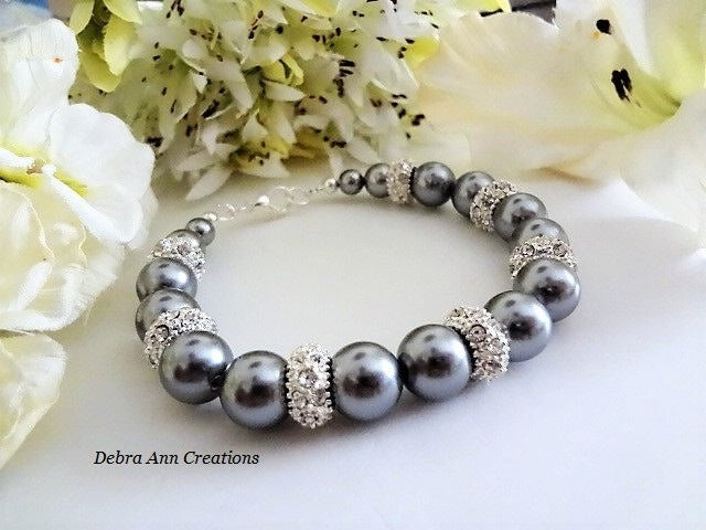Gray Pearl Bracelet Dark Grey Swarovski For Bridesmaid Jewelry Wedding Mother Of Bride Groom Gift