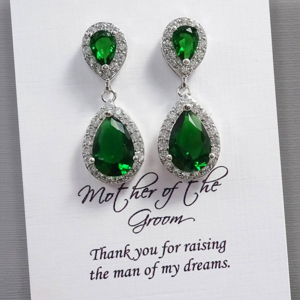 Green Earrings, Crystal Wedding Mother Of The Groom Gift, Christmas Bride Gift