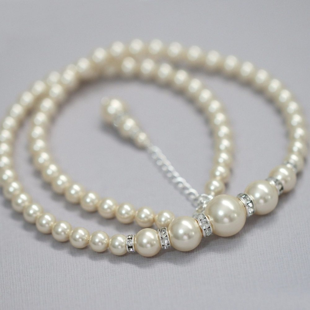 Ivory Pearl Bridal Necklace, Swarovski Wedding Mother Of The Bride Gift, Groom Gift