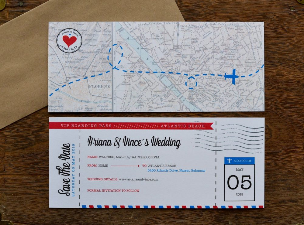 Diy - Save The Date Airline Ticket Travel Theme Wedding World Destination Personalized Digital File